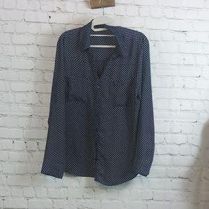 Express blue and white polka dot shirt size L